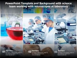 Powerpoint Template And Background With Science Team Working With Microscopes At Laboratory
