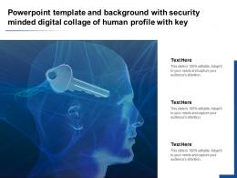 Powerpoint Template And Background With Security Minded Digital Collage Of Human Profile With Key