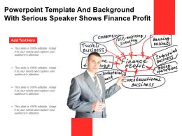 Powerpoint Template And Background With Serious Speaker Shows Finance Profit