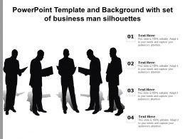 Powerpoint Template And Background With Set Of Business Man Silhouettes