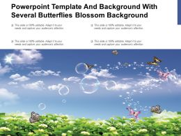 Powerpoint Template And Background With Several Butterflies Blossom Background