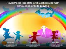 Powerpoint Template And Background With Silhouettes Of Kids Playing