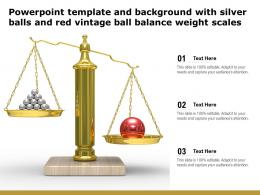 Powerpoint Template And Background With Silver Balls And Red Vintage Ball Balance Weight Scales