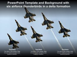 Powerpoint Template And Background With Six Airforce Thunderbirds In A Delta Formation