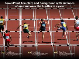 Powerpoint Template And Background With Six Lanes Of Men Run Over The Hurdles In A Race