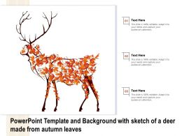 Powerpoint Template And Background With Sketch Of A Deer Made From Autumn Leaves