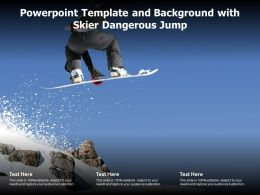 Powerpoint Template And Background With Skier Dangerous Jump