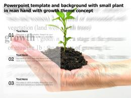 Powerpoint Template And Background With Small Plant In Man Hand With Growth Theme Concept