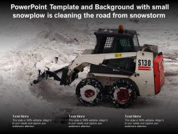 Powerpoint Template And Background With Small Snowplow Is Cleaning The Road From Snowstorm