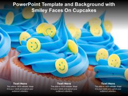 Powerpoint Template And Background With Smiley Faces On Cupcakes