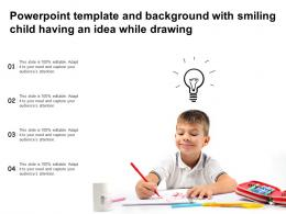 Powerpoint Template And Background With Smiling Child Having An Idea While Drawing