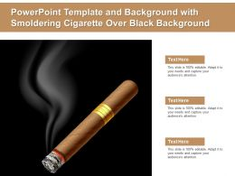 Powerpoint Template And Background With Smoldering Cigarette Over Black Background