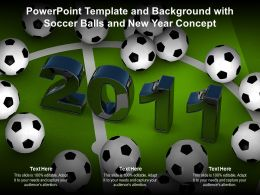 Powerpoint Template And Background With Soccer Balls And New Year Concept