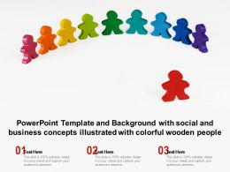 Powerpoint Template And Background With Social And Business Concepts Illustrated With Colorful Wooden People