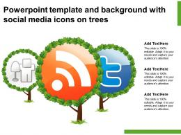 Powerpoint Template And Background With Social Media Icons On Trees