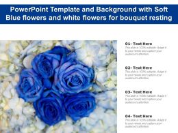 Powerpoint Template And Background With Soft Blue Flowers And White Flowers For Bouquet Resting
