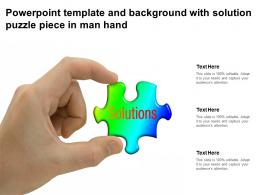 Powerpoint Template And Background With Solution Puzzle Piece In Man Hand