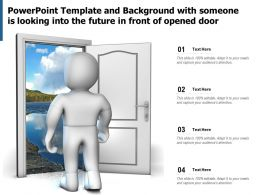 Powerpoint Template And Background With Someone Is Looking Into The Future In Front Of Opened Door