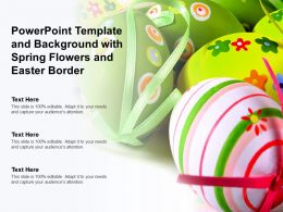 Powerpoint Template And Background With Spring Flowers And Easter Border