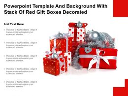 Powerpoint Template And Background With Stack Of Red Gift Boxes Decorated