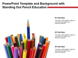 Powerpoint Template And Background With Standing Out Pencil Education