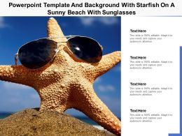 Powerpoint Template And Background With Starfish On A Sunny Beach With Sunglasses