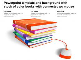 Powerpoint Template And Background With Stock Of Color Books With Connected Pc Mouse