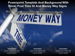 Powerpoint Template And Background With Street Post Time St And Money Way Signs
