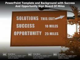 Powerpoint Template And Background With Success And Opportunity Sign Board Of Miles