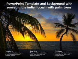 Powerpoint Template And Background With Sunset In The Indian Ocean With Palm Trees