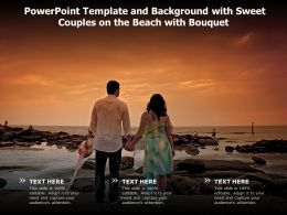 Powerpoint Template And Background With Sweet Couples On The Beach With Bouquet