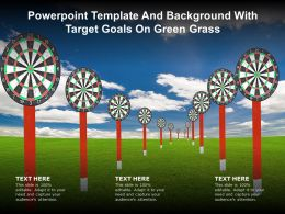 Powerpoint Template And Background With Target Goals On Green Grass
