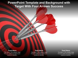 Powerpoint Template And Background With Target With Four Arrows Success