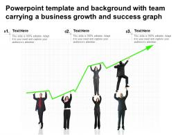 Powerpoint Template And Background With Team Carrying A Business Growth And Success Graph
