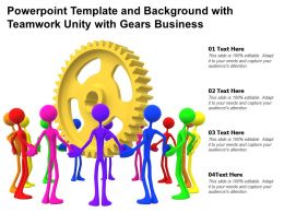 Powerpoint Template And Background With Teamwork Unity With Gears Business
