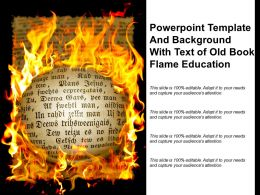 Powerpoint Template And Background With Text Of Old Book Flame Education