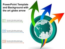Powerpoint Template And Background With The Art Globe Arrow