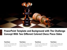 Powerpoint Template And Background With The Challenge Concept With Two Different Colored Chess Piece Sides