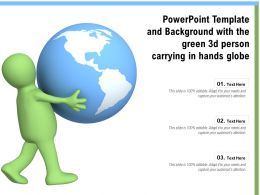 Powerpoint Template And Background With The Green 3d Person Carrying In Hands Globe