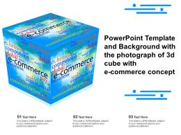 Powerpoint Template And Background With The Photograph Of 3d Cube With E Commerce Concept