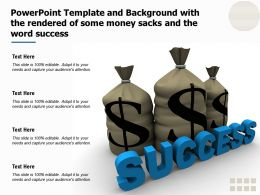 Powerpoint Template And Background With The Rendered Of Some Money Sacks And The Word Success