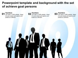 Powerpoint Template And Background With The Set Of Achieve Goal Persons