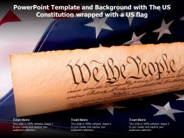 Powerpoint Template And Background With The Us Constitution Wrapped With A US Flag