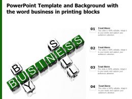 Powerpoint Template And Background With The Word Business In Printing Blocks