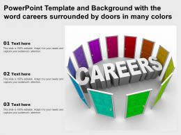 Powerpoint Template And Background With The Word Careers Surrounded By Doors In Many Colors