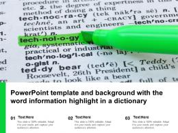 Powerpoint Template And Background With The Word Information Highlight In A Dictionary