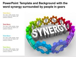Powerpoint Template And Background With The Word Synergy Surrounded By People In Gears