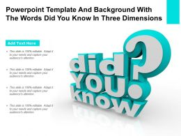 Powerpoint Template And Background With The Words Did You Know In Three Dimensions