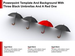 Powerpoint Template And Background With Three Black Umbrellas And A Red One