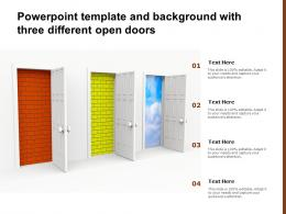 Powerpoint Template And Background With Three Different Open Doors